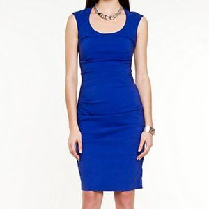Royal blue form fitting ruched cocktail dress
